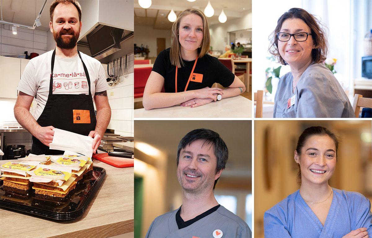 PÅ JOBB: Kokken Arne i Bodø deler ut matpakker til de som trenger det. Helsepersonell i Kirkens Bymisjon er på jobb, og opprettholder strenge smittetiltak.